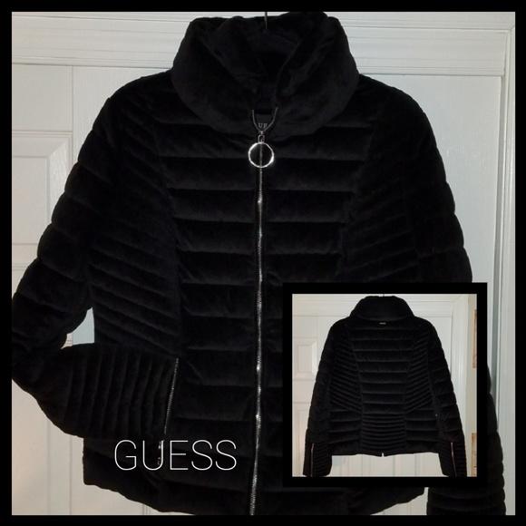 Guess Men/'s Long Sleeve Metallic Velvet Jacket Jet Black, Large